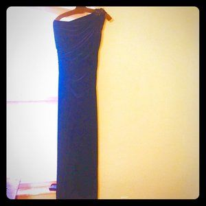 Tadashi Shoji Navy One Shoulder Gown / Prom Dress